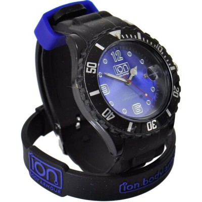 black with blue face ion watch enlarged view